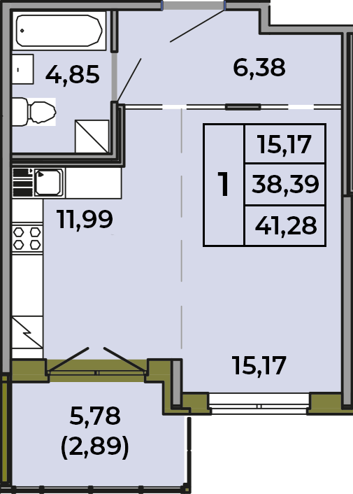 Студия, 38.39 м²– 2