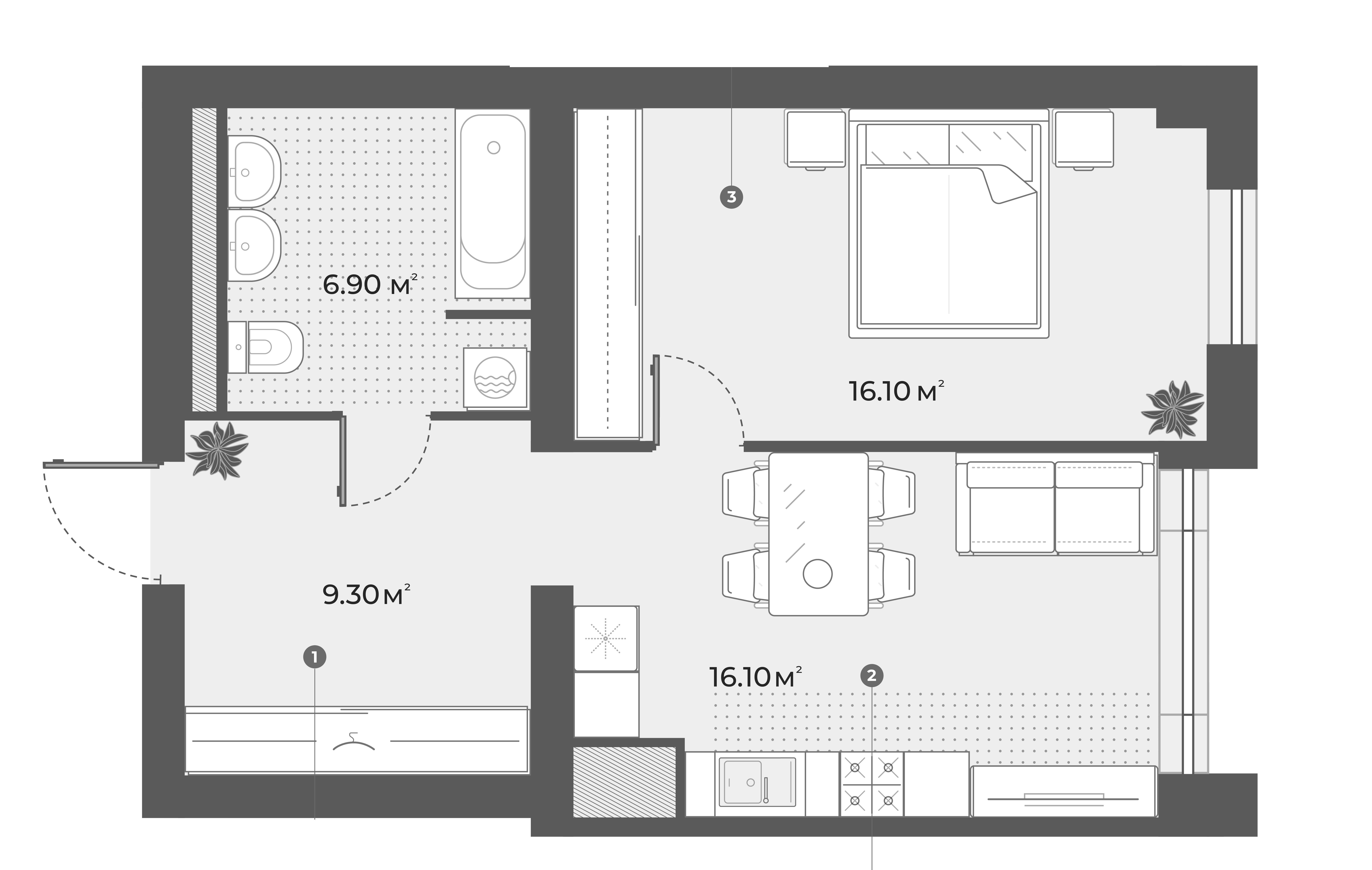 2Е-к.кв, 48.4 м², 3 этаж