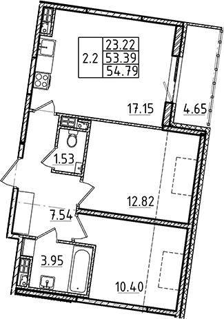 3Е-комнатная, 53.39 м²– 2