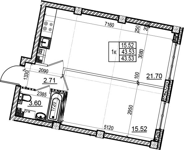2Е-комнатная, 43.53 м²– 2