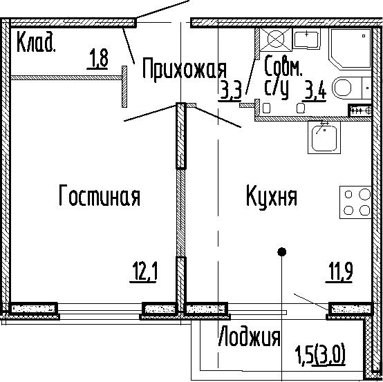 1-к.кв, 32.5 м², 1 этаж