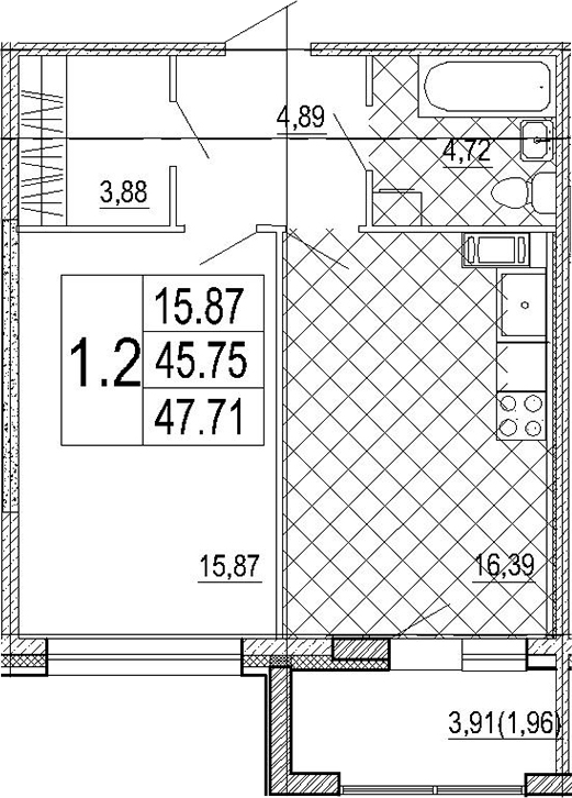 2Е-комнатная, 47.71 м²– 2