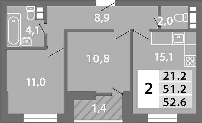3-к.кв (евро), 54.44 м²