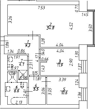 3Е-к.кв, 82.8 м², 7 этаж