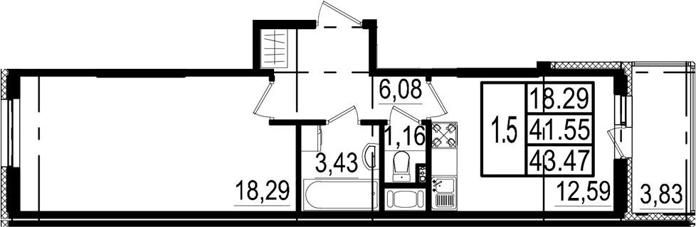 1-комнатная, 41.55 м²– 2