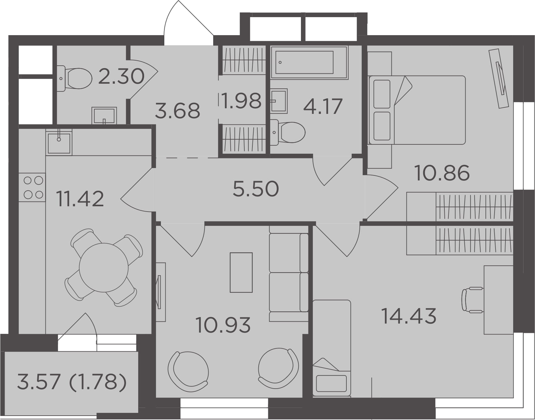 3-к.кв, 67.05 м²