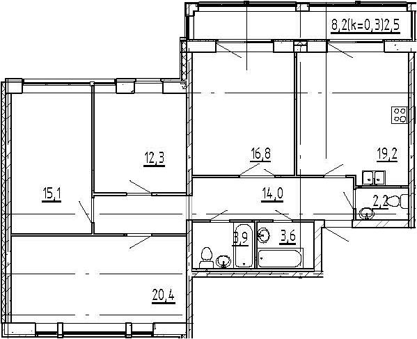 5Е-комнатная, 110 м²– 2