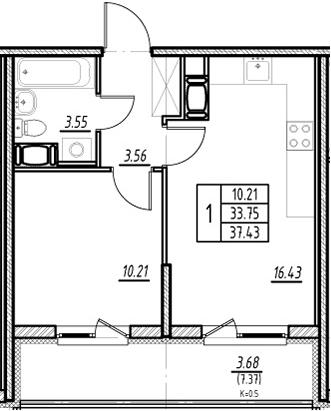 2-комнатная квартира (евро), 41.12 м², 9 этаж – Планировка