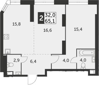 2-к.кв, 65.1 м², 43 этаж