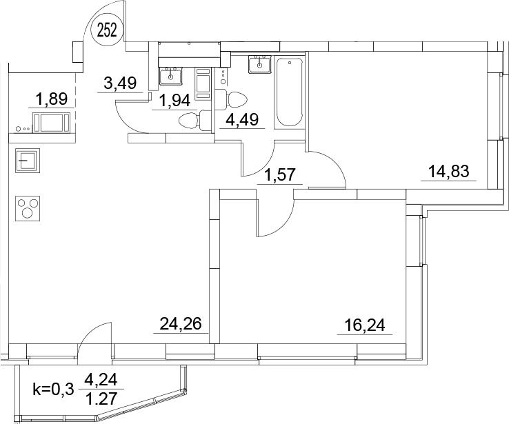 3Е-к.кв, 69.98 м², 3 этаж