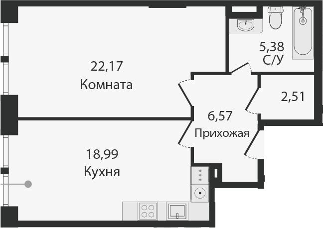 2Е-комнатная, 55.62 м²– 2