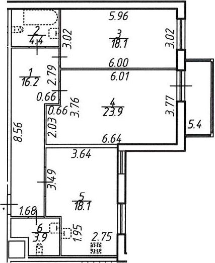 2-к.кв, 89.93 м²