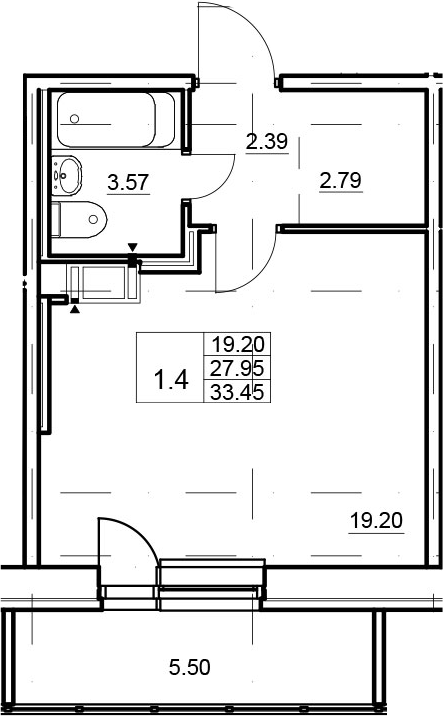 Студия, 33.45 м²