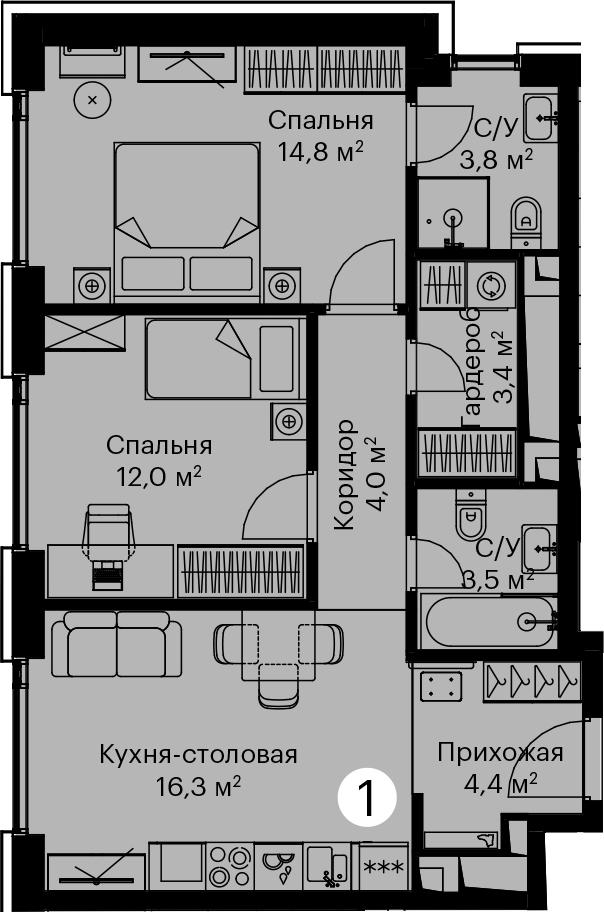 3Е-комнатная, 62.2 м²– 2