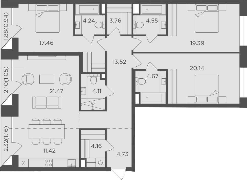 4-к.кв, 136.77 м², 7 этаж