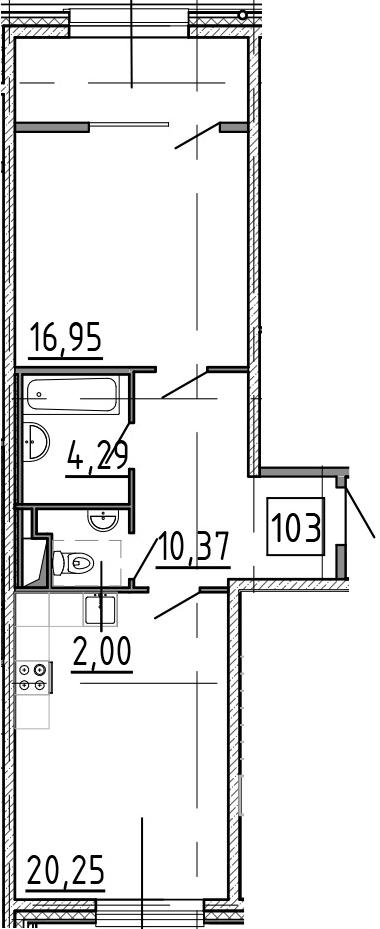 2-к.кв (евро), 60.01 м²