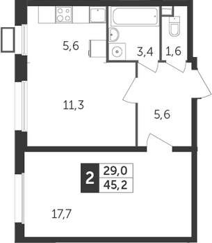 2Е-к.кв, 45.2 м², 3 этаж