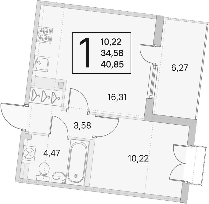 2Е-к.кв, 34.58 м², 3 этаж