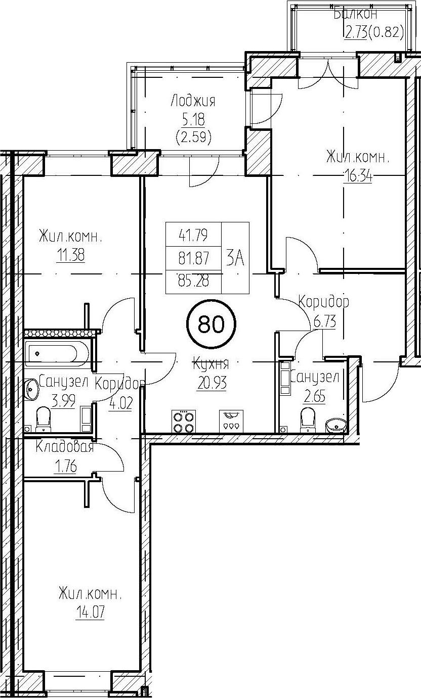 3-к.кв, 89.78 м²