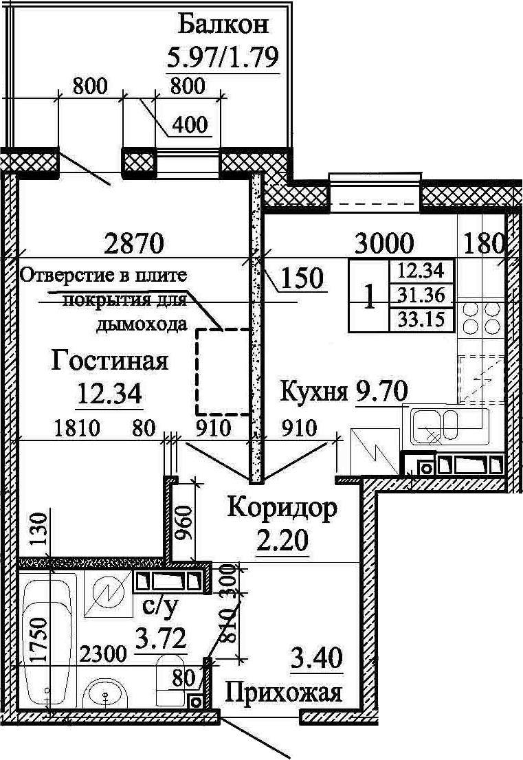 1-к.кв, 33.15 м², 5 этаж