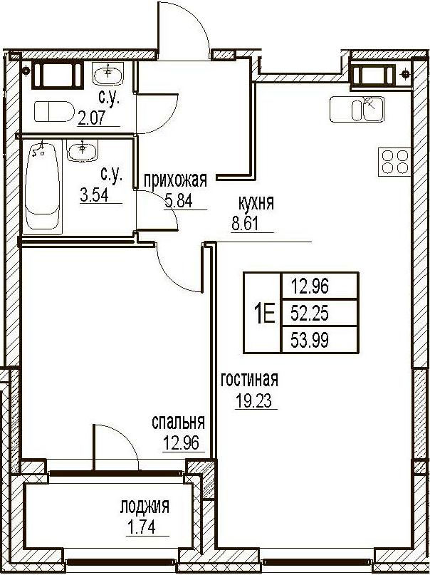 2Е-комнатная, 53.99 м²– 2