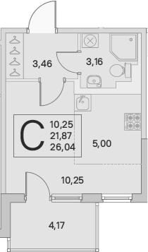 Студия, 23.96 м², 2 этаж