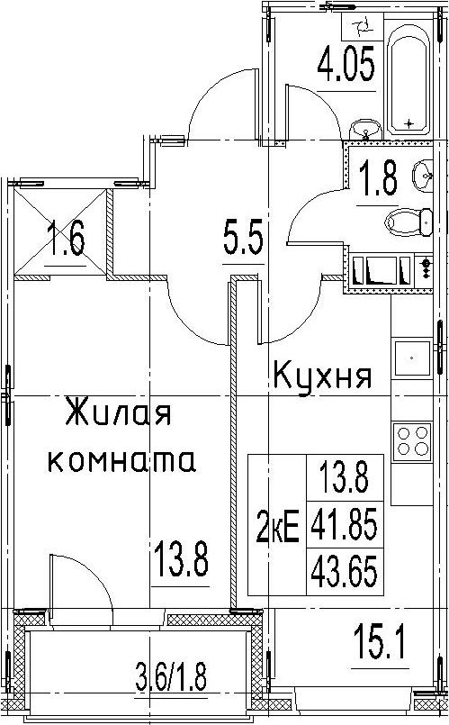 2Е-к.кв, 43.65 м²