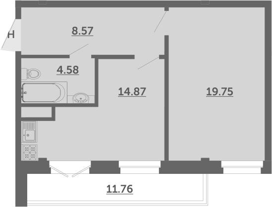 1-к.кв, 51.3 м², 4 этаж