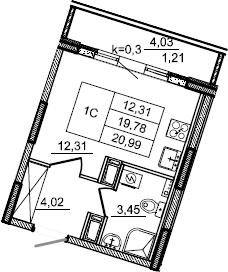 Студия, 20.65 м², от 3 этажа