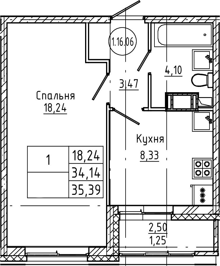 1-к.кв, 35.39 м², от 3 этажа
