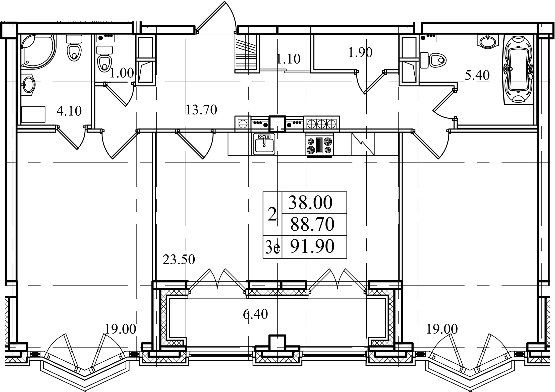 3Е-к.кв, 88.7 м²