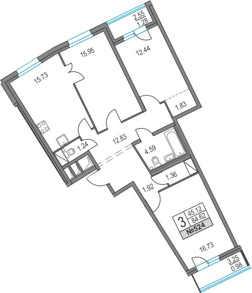 4Е-к.кв, 84.62 м², от 2 этажа
