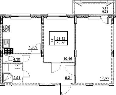 2-комнатная, 52.56 м²– 2