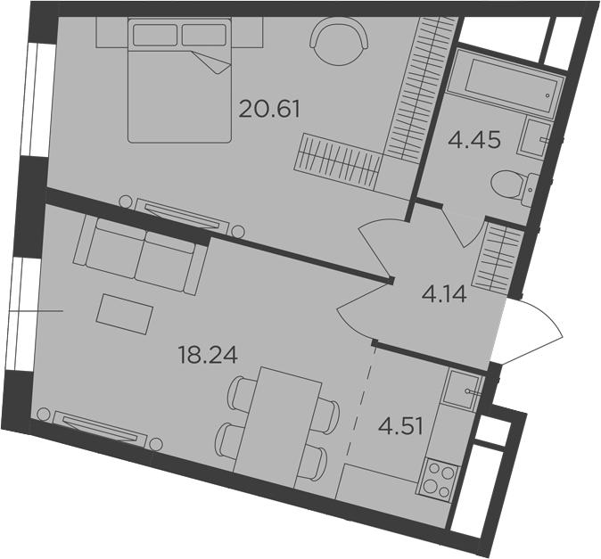 2Е-комнатная, 51.95 м²– 2