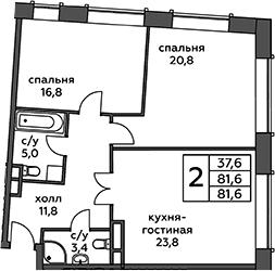 3Е-комнатная, 81.6 м²– 2