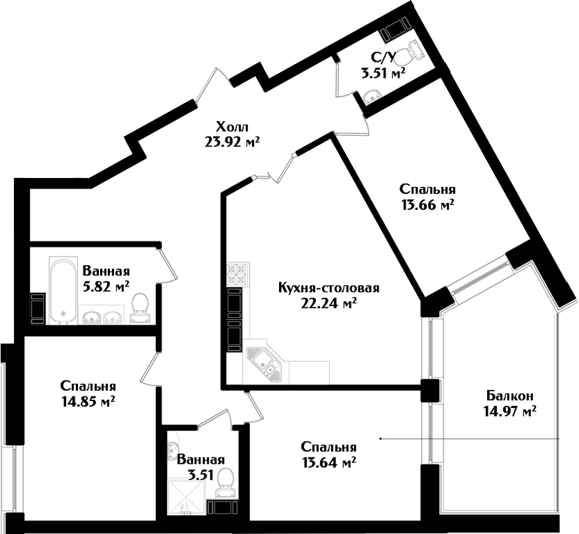 4Е-к.кв, 104.83 м², 3 этаж