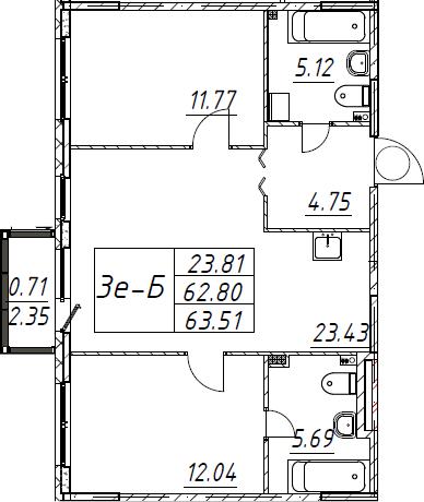 3Е-к.кв, 63.51 м², 1 этаж