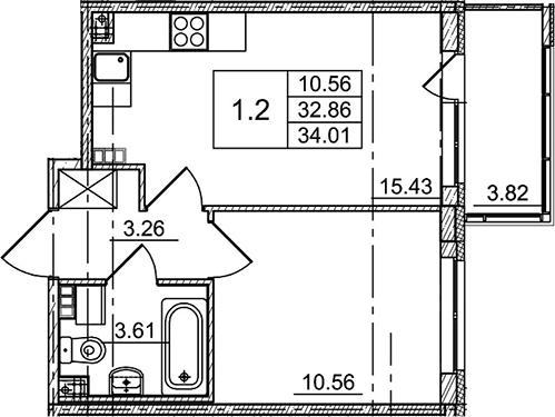 2Е-комнатная, 34.01 м²– 2