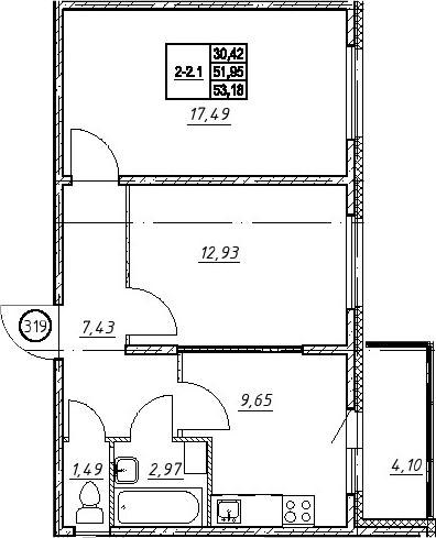 2-к.кв, 53.18 м²
