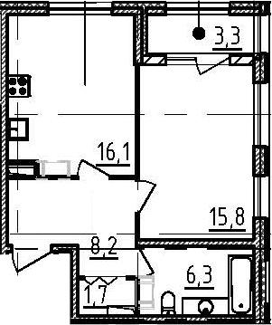 2-к.кв (евро), 51.5 м²
