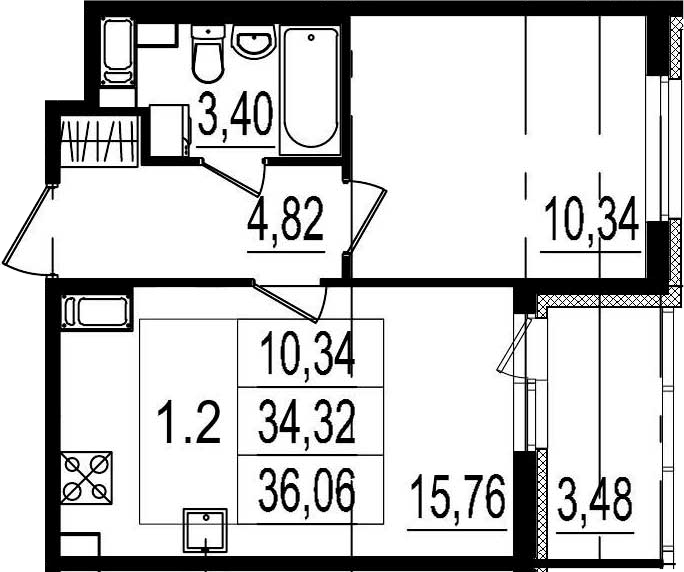 2Е-комнатная, 34.32 м²– 2