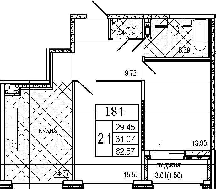 2-к.кв, 62.57 м²