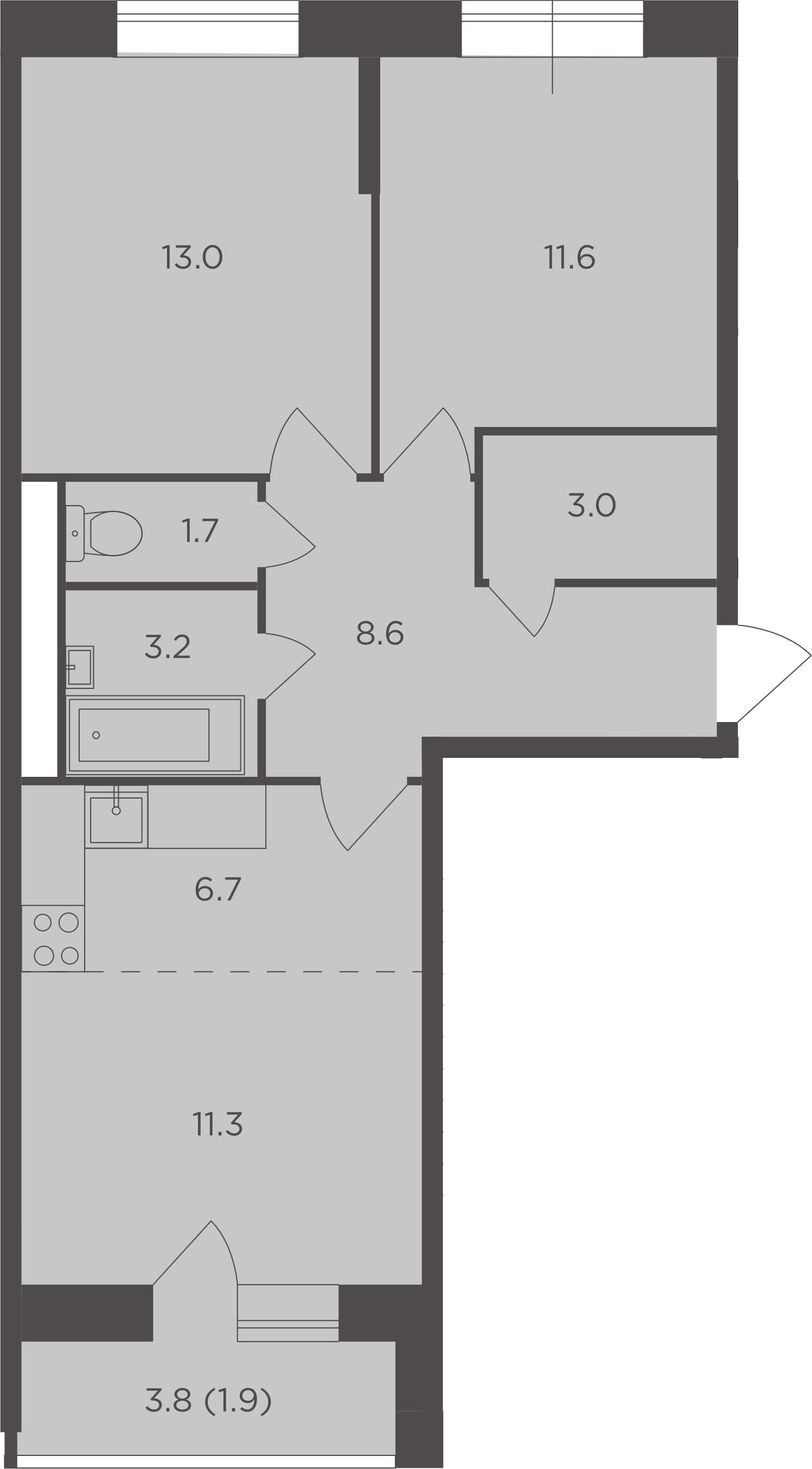 3Е-к.кв, 61 м², 11 этаж