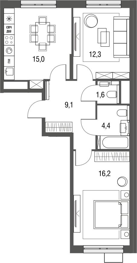 3Е-к.кв, 58.6 м², 6 этаж
