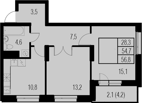 2-к.кв, 58.9 м²