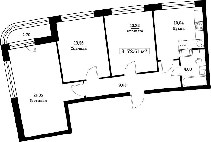 3-комнатная, 72.61 м²– 2