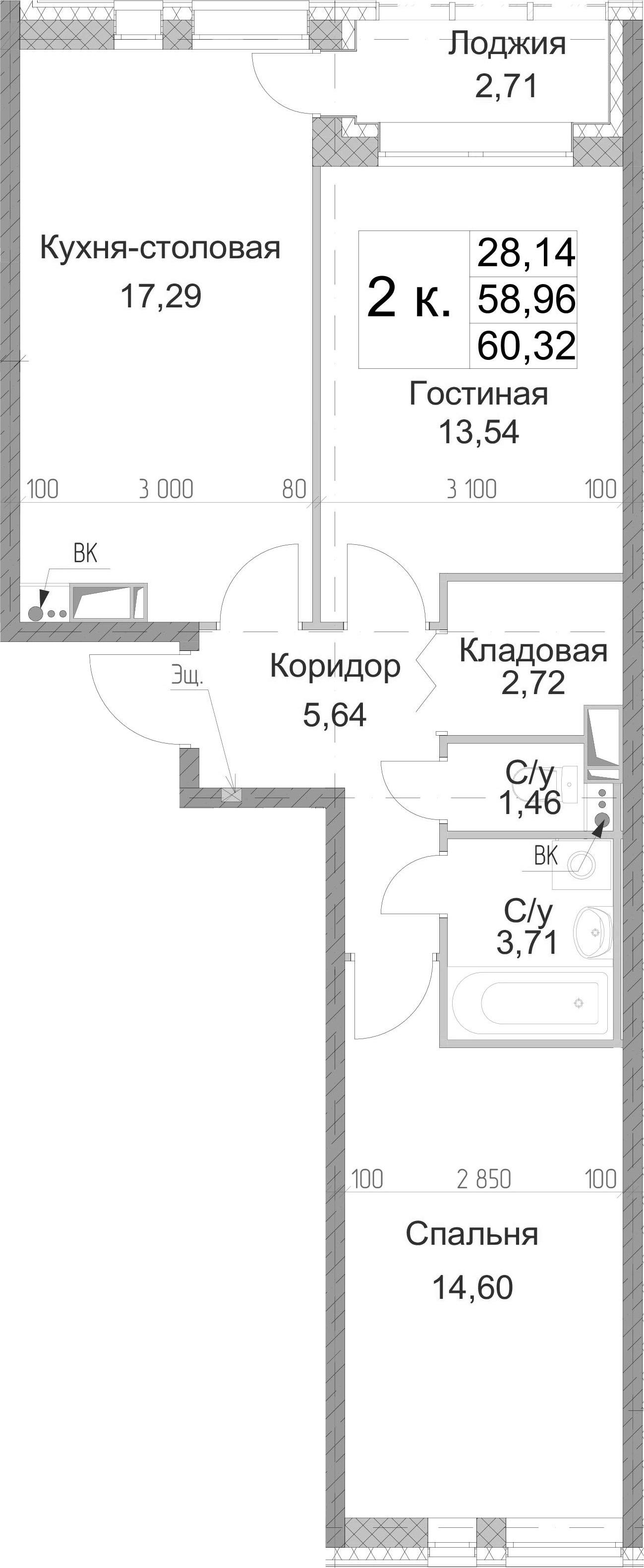 2-к.кв, 60.32 м², от 2 этажа