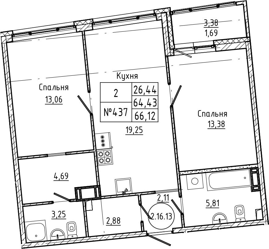 3Е-комнатная, 66.12 м²– 2