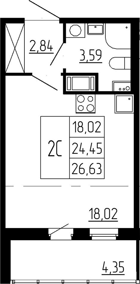 Студия, 24.45 м², 2 этаж