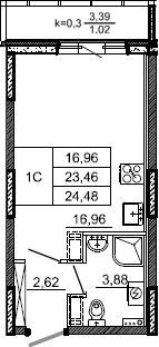 Студия, 24.48 м², 2 этаж – Планировка